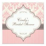 Pink Damask & Stripe Bridal Shower Invitation