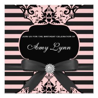 Pink Damask Striped Birthday Party Invitation