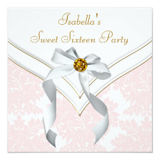 Pink Damask Sweet 16 Party Card