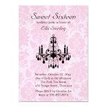 Pink Damask Sweet Sixteen Birthday Invitation