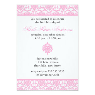 Pink Damask Sweet Sixteen Invitations