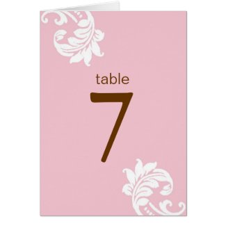 Pink Damask Table Seating Cards card
