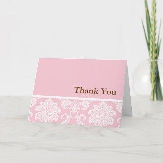Pink Damask Thank You Card card