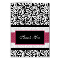 pink damask Thank You Card