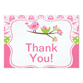 Pink Damask Thank you note cards with birds