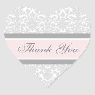 Pink Damask Thank You Wedding Envelope Seals