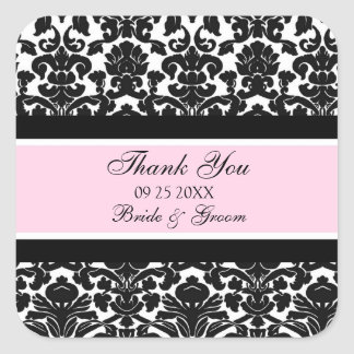 Pink Damask Thank You Wedding Favor Tags
