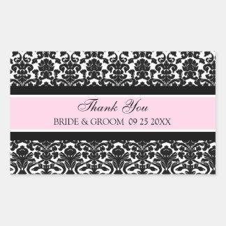 Pink Damask Thank You Wedding Favor Tags