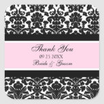 Pink Damask Thank You Wedding Favor Tags Square Sticker