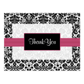 pink damask ThankYou Cards
