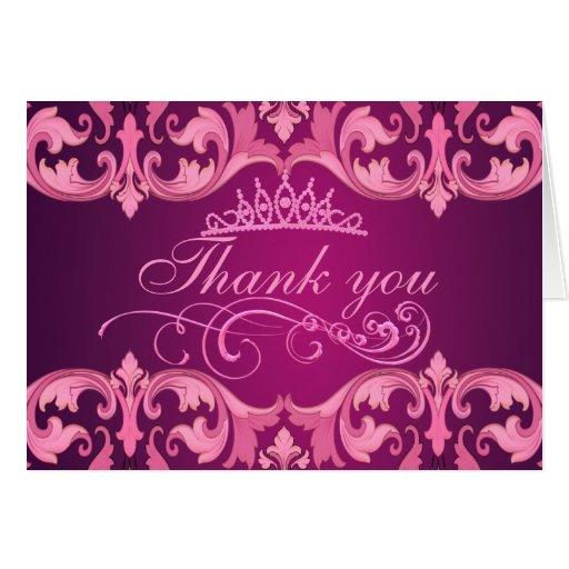Pink Damask & Tiara Thank You Card