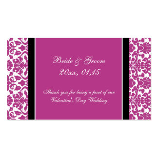 Pink Damask Valentine's Day Wedding Favor Tags Business Card Templates