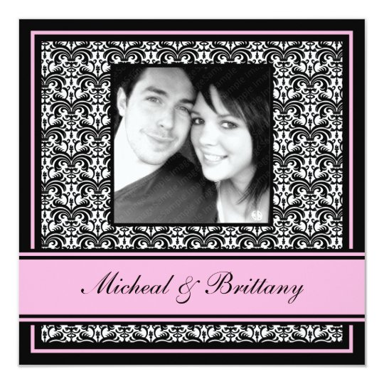 Pink Damask Wedding Engagement Announcement