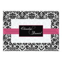 pink damask wedding invitation