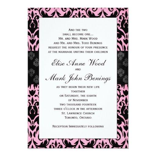 Pink damask wedding invitation template zazzle for Damask wedding invitations template free