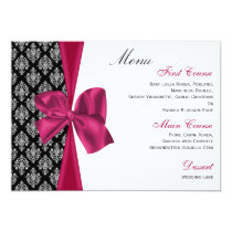pink damask  wedding menu card