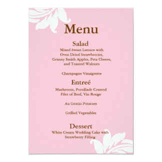 Pink Damask Wedding Menu Card