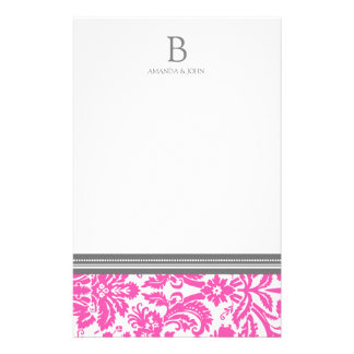 Pink Damask Wedding Monogram Stationery