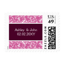 pink damask ,wedding postage