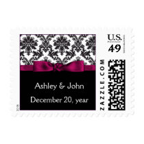 pink damask wedding postage