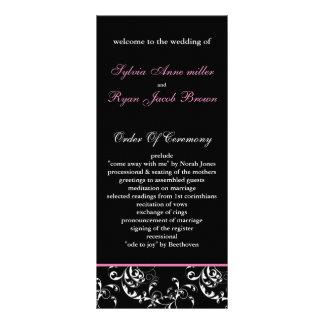 pink damask Wedding program