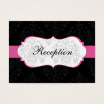 pink  damask wedding Reception Cards