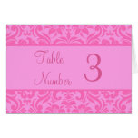 Pink Damask Wedding Reception Table Number Cards Greeting Card