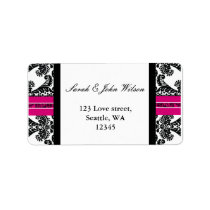pink damask wedding ,return address label