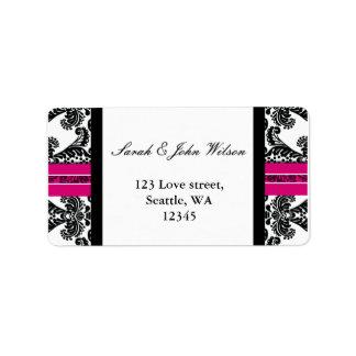 pink damask wedding ,return address label