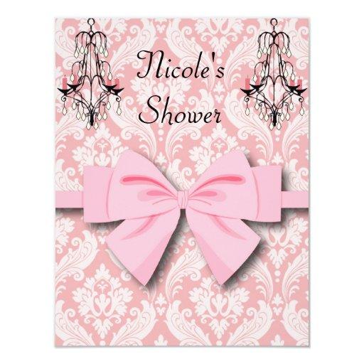 PINK DAMASK  Wedding Shower Engagement Invitations