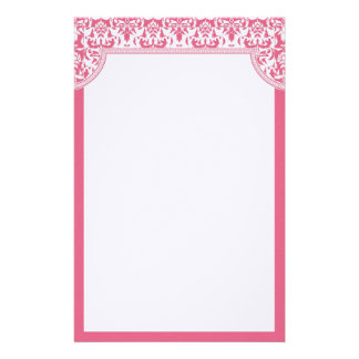 Pink Damask Wedding Stationery