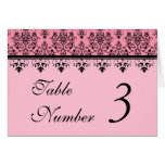 Pink Damask Wedding Table Cards Greeting Cards