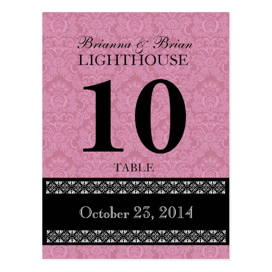 Pink Damask Wedding Table Number Card Reception