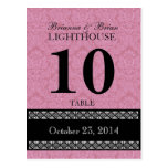 Pink Damask Wedding Table Number Card Reception Post Card