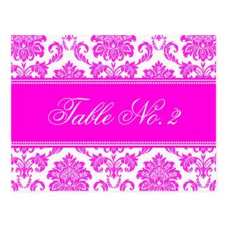Pink Damask Wedding Table Number Postcards