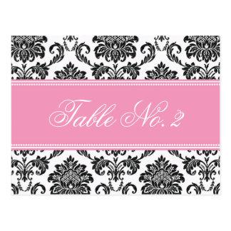 Pink Damask Wedding Table Number Post Cards