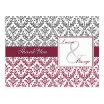 pink damask wedding Thank You Postcard