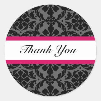 Pink Damask Wedding Thank You Stickers