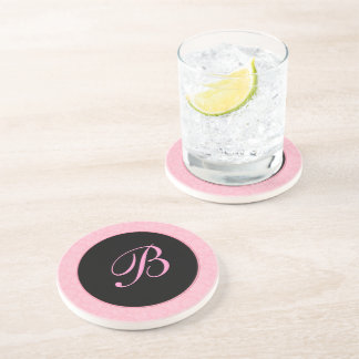 Pink Damask with Black Accents Monogrammed Coaster