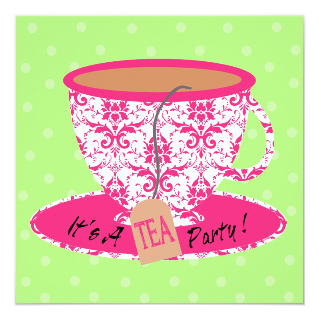 Pink Damask with Green Tea Cup Tea Party Birthday