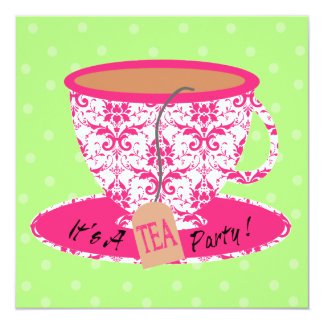 Pink Damask with Green Tea Cup Tea Party Birthday Card