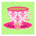 Pink Damask with Green Tea Cup Tea Party Birthday Custom Invites