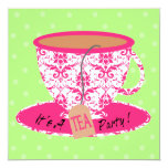 "Pink Damask with Green Tea Cup Tea Party Birthday 5.25"" Square Invitation Card"
