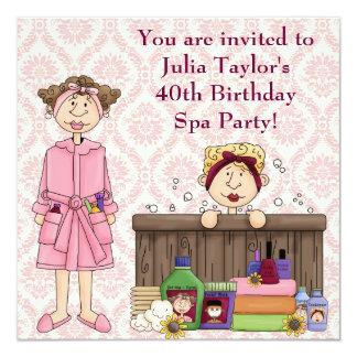 Pink Damask Womans Spa Birthday Party 5.25x5.25 Square Paper Invitation Card