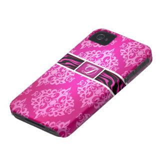 Pink Damask Zebra Stripes Monogram D Case-Mate iPhone 4 Case