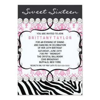 Pink Damask Zebra Sweet Sixteen Birthday Party Card
