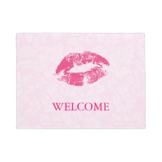 Pink Damasks And Red Lips Doormat