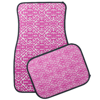 Pink Damasks On White Floor Mat