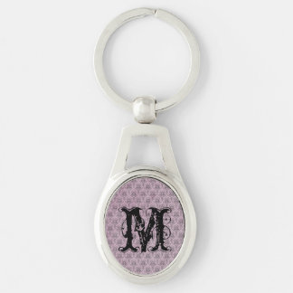 Pink Damasks Pattern Background Silver-Colored Oval Metal Keychain