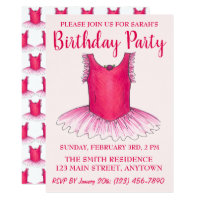 Pink Dance Ballerina Tutu Ballet Birthday Party Card